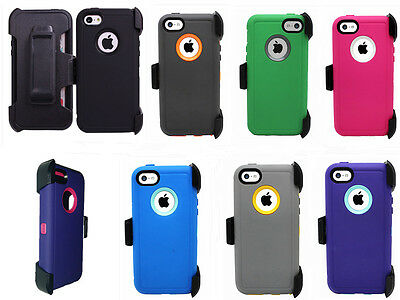 New Defender Protective Case Hybrid w/Clip & Screen Protector For iPhone 5C
