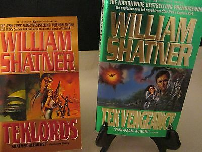 William Shatner Books Lot Of 2 Novels Teklords & Tek Vengeance Science Fiction