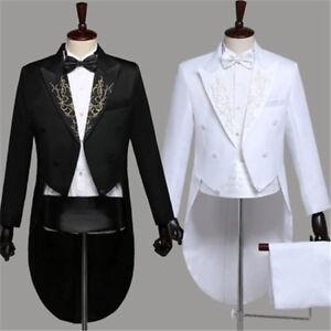 Men Peak Lapel Tailcoat Suit Trousers Set Formal Dress Wedding Groomsman Tuxedo