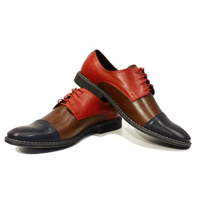 Zapatos de vestir modello Rocco-hecho a mano cuero italiano Coloridos Oxford Marrón