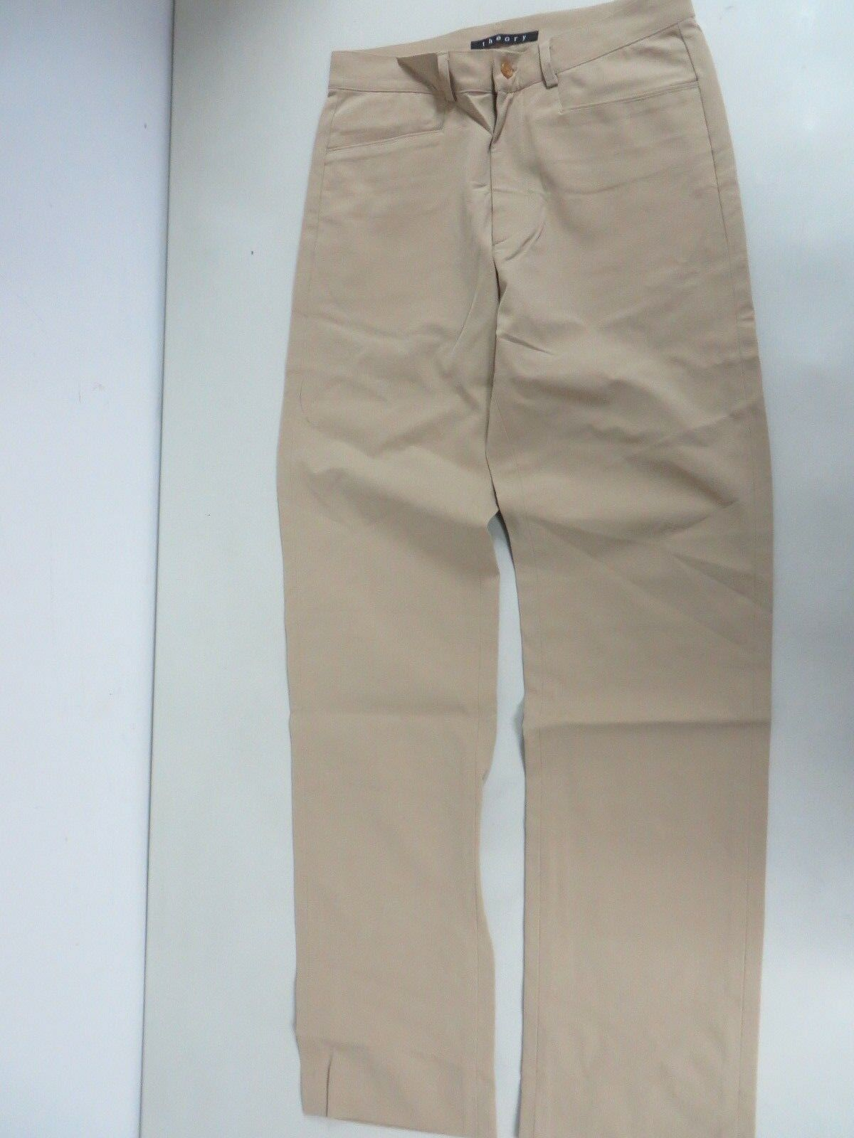 NWOT Theory Sports Nylon spandex Tan Brown Flat Front Slim fit Pants 28 x 31.5