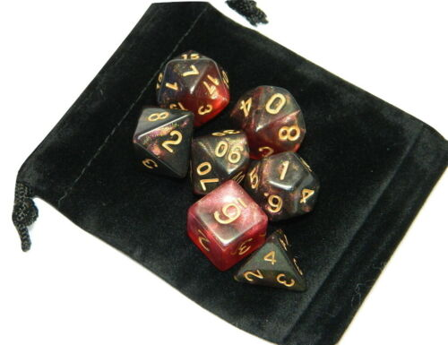 New 7 Piece Polyhedral Midnight Rose Glitter Red Dice Set With Dice Bag D/&D