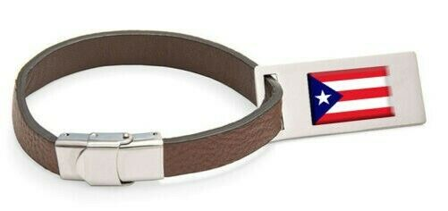 Puerto rico flag cuir steel sacgage label text engraved