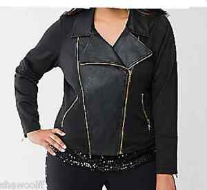f7012e9977a Lane Bryant long sleeved Black faux leather   ponte knit zip jacket ...