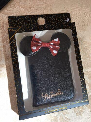 Primark DISNEY Minnie Mouse Rouge Paillettes Noeud Oreilles Noir Porte-passeport Cover NEUF