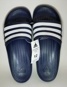 cd092c29d5f5 Adidas Duramo Slide - Unisex Blue 3 White Stripes Sandals Size 12 ...