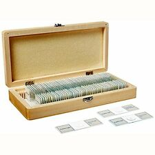 Prepared Microscope Slides Set for Basic Biological Science Education Wood Case
