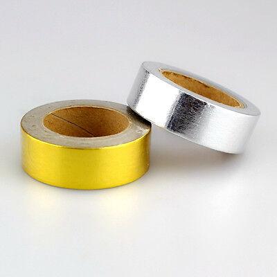 2pcs/Lot Gold and Silver Colors Decorative Foil Washi Tape Paper Set - 1.5cm*10m