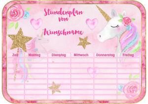 Süßer Einhorn Unicorn Stundenplan Din A4 Schule Einschulung