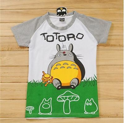 TOTORO New Size S Japanese Studio Ghibli Unisex Girls Boys Cartoon T-shirt Grey