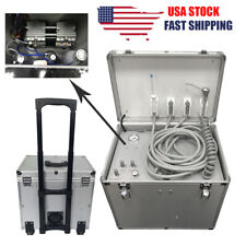 Dental Portable Mobile Delivery Unit Suction Rolling Case Air Compressor 550w
