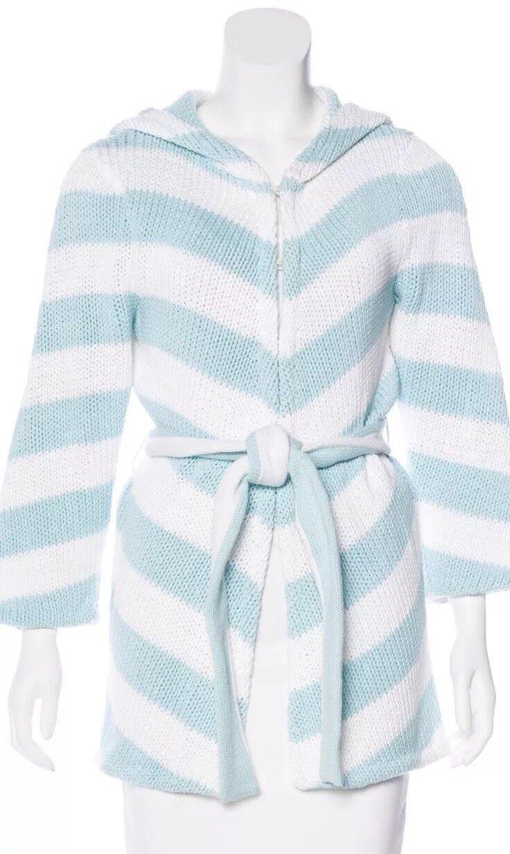 ALICE + OLIVIA Womens bluee White Stripe Cardigan Heavy Knit Hoodie Small Cotton