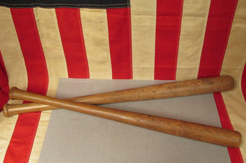 Vintage Baseball Junior Holz Antik Baseball Vintage Schläger Paar No.45 Little League 25