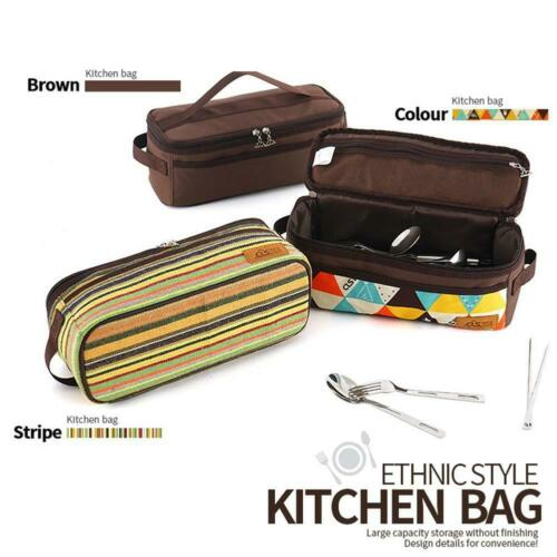 Outdoor Camp Cooking Utensil Organizer Pouch Set Travel New Storage Bag I7Y5