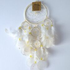 NEW WHITE NATURAL SHELL AND FEATHER DREAM CATCHER NATIVE AMERICAN HANGING MOBILE