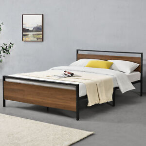 Metallbett-140x200cm-Holzbett-Design-Bett-Bettgestell-Metall-Schwarz-Walnuss