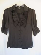 Sheer Black Ruffle Lace Collar Button Shirt Blouse Sm Goth Emo Steampunk Career