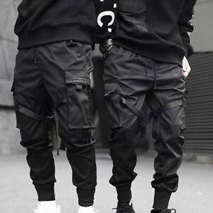 Men-Fashion-Black-Tactical-Cargo-Harem-Pants-Joggers-Street-Hip-Hop-Trousers