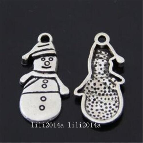 20pc Tibetan Silver Christmas snowman Charm Beads Pendant accessories  PL930