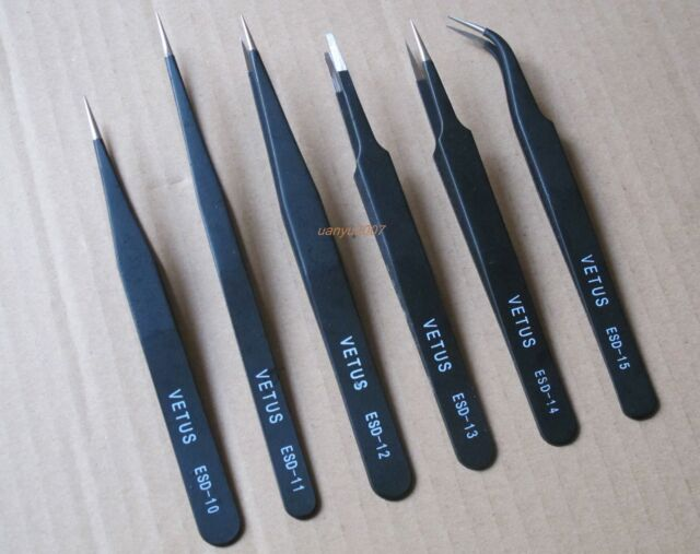6Pcs Safe Anti static Tweezers Maintenance Tools ESD10-15 Free Shipping