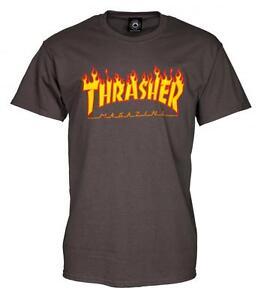 THRASHER-T-SHIRT-FLAME-MAG-LOGO-CHARCOAL