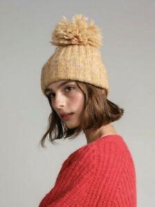 NEW Hansel From Basel Pom Pom Beanie Hat Golden Yellow Alpaca Wool