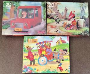 3 X Vintage Wooden Jigsaw Puzzles-afficher Le Titre D'origine