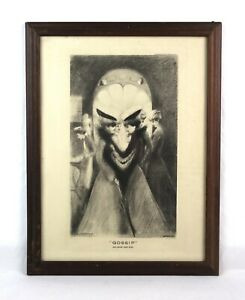Antique-Geo-A-Wotherspoon-Lithograph-Print-Gossip-Art-Lore-Inc-Optical-Illusion