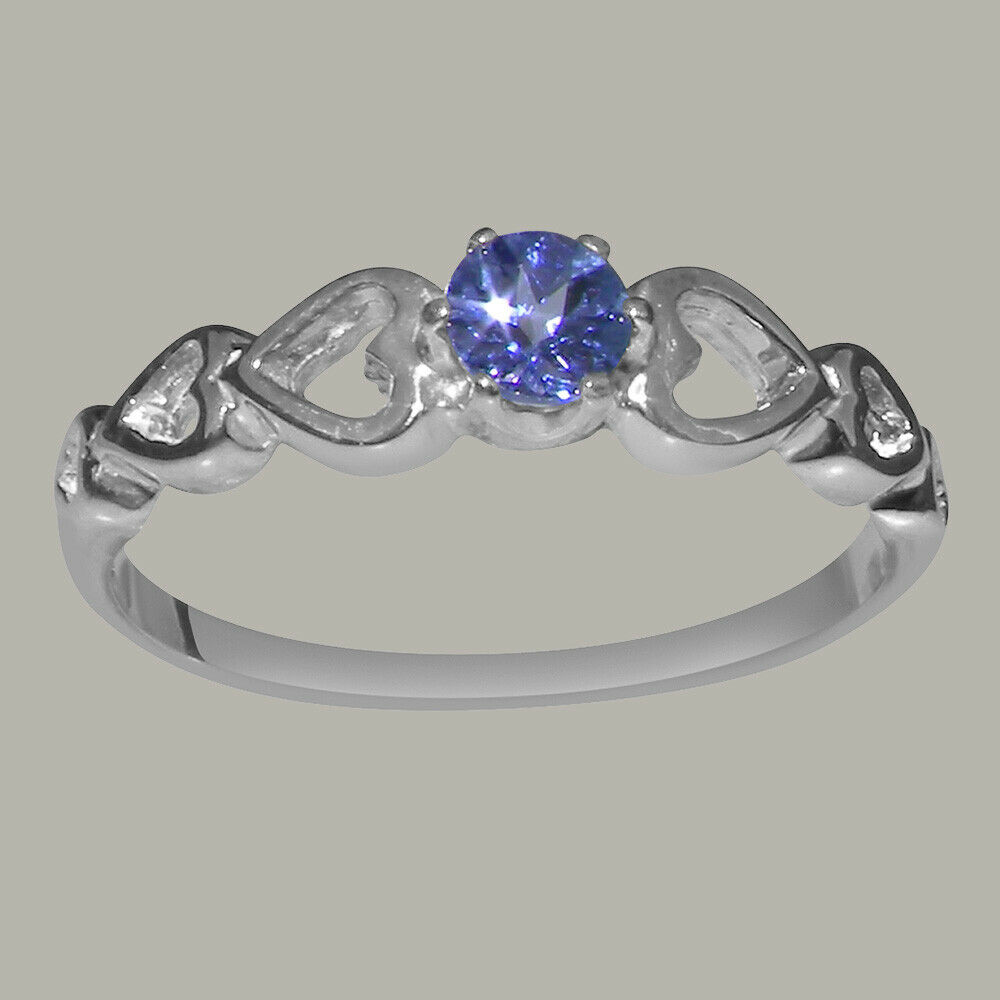 Solid 18k White gold Natural Tanzanite Womens Solitaire Ring - Sizes 4 to 12