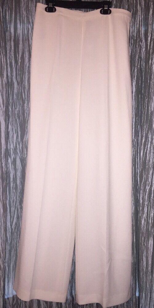 ELLEN TRACY Ivory Dress Wide Leg Pants w Side Zipper Sz 6 NWT  Women's