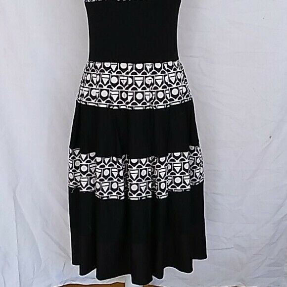 Save the Queen! geometric waisted dress sz M - image 3