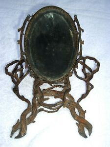 Heavy-Antique-Black-Forest-Style-Counter-Top-Shaving-Vanity-Root-Twig-Mirror