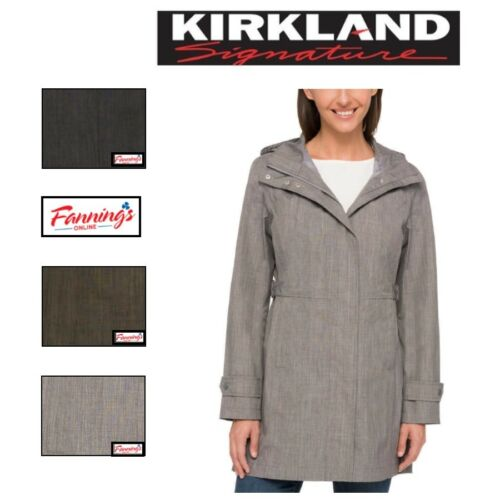 Women/'s Kirkland Signature Trench Rain Coat Hood VARIETY SZ//CLR SALE F53 NEW