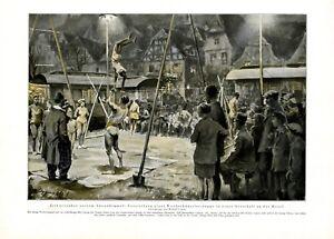 Zirkus-in-Ortschaft-an-der-Mosel-XL-Kunstdruck-1929-Wanderzirkus-Artisten
