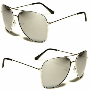 732e4221b Details about Oversized Extra Large PILOT Sunglasses Silver Frame Mirror  Lenses XXL Fash c