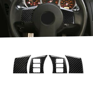 4Pcs Carbon Fiber Interior Steering Wheel Panel Cover For Nissan 350Z 2006-2009