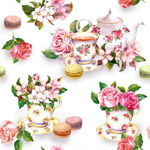 Dollhouse Miniature Tea Time Pink Floral Shabby Chic Wallpaper 1:12 Teapot