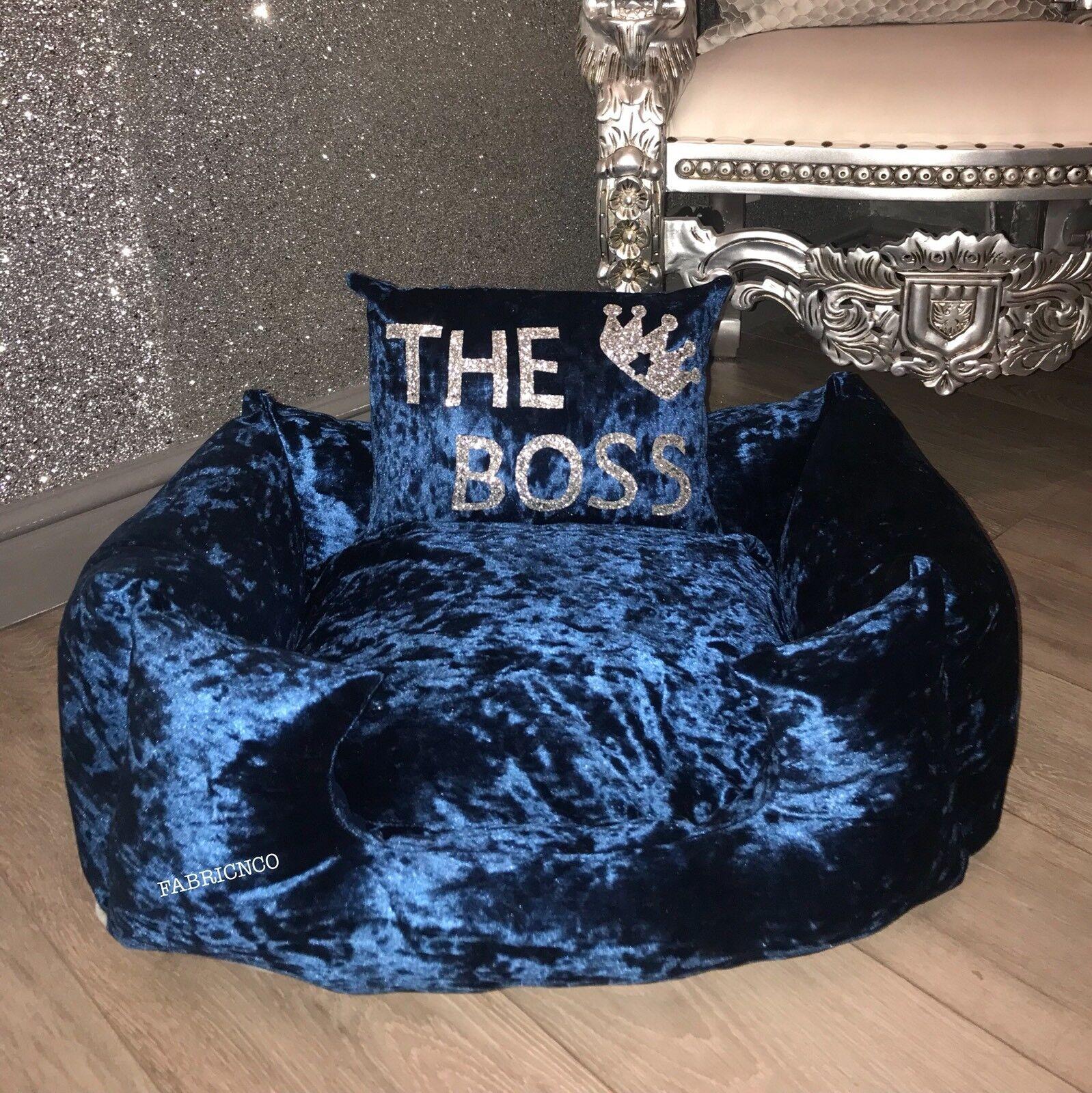 Medium Crushed Velvet Dog Pet Bed - Teal Blau