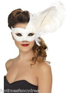 Damen Weiß & Silber Halbschuhe verziert Maske maskiert Ball Maskerade Kostüm