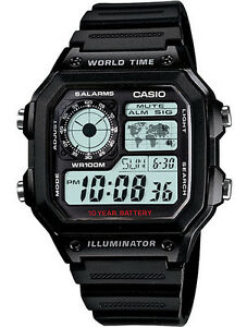 Casio-AE1200WH-1A-Men-039-s-Black-Resin-Strap-World-Time-Chrono-Alarm-Digital-Watch