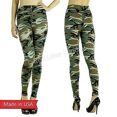 Army Green Camo Camouflage Ponte Knit Zipper High Waist Leggings Tight Pants US