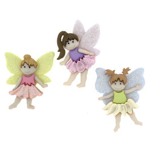 DressItUp-7022 per pack Dress It Up Shaped Novelty Buttons Flower Fairies
