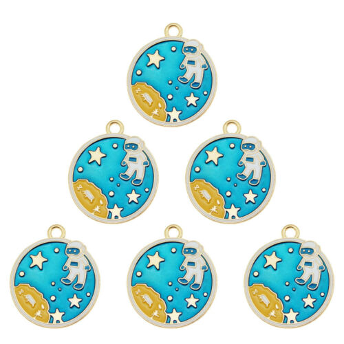 10pcs Multi-Colors Alloy Assorted Space Astronaut Pendant Charms Jewelry Crafts