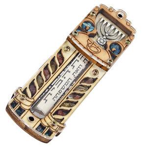 Natural-Wood-Car-Mezuzah-w-Gemstones-Hanukkah-Menorah-amp-Star-of-David-4-034