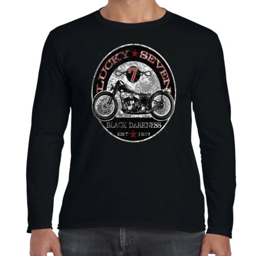 Mens Biker Long Sleeve T shirt Black Darkness Classic Bike Motorbike Clothing 74