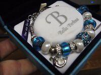 Bella Perlina Deluxe Charm & Crystal Bead Bracelet Blue & White Dauphin