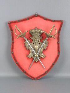 Vintage-Ornamento-Imagen-de-Pared-con-Miniatura-Espadas-E-Escudo-Laton