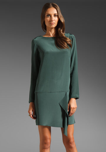 Tibi Women's Size 10 Green Long sleeve Silk Shift Dress