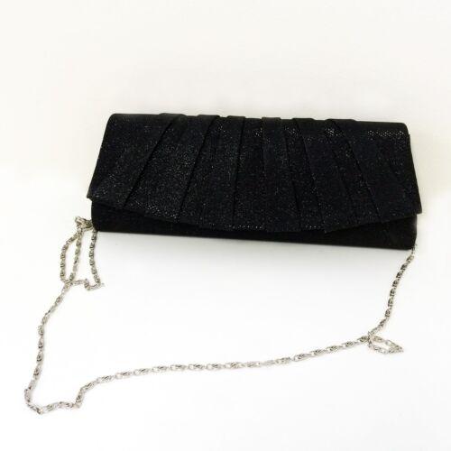 New Evening Bag Glitter Shimmer Clutch Chain Purse Wedding Party Club Hand Bag