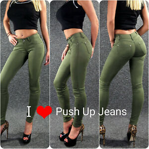 Push Up Stretch Jeans Olive Xs S M L XL Zazou Sexy Ladies Skinny Trousers M1864